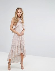 Foxiedox Halter Neck Lace Hi Low Dress Pink