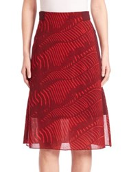 Akris Printed Wool A Line Skirt Pomegranate