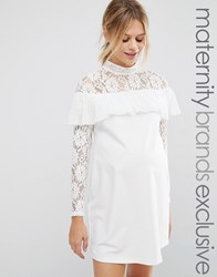 Queen Bee Shift Dress With Lace And Ruffle Detail Cream