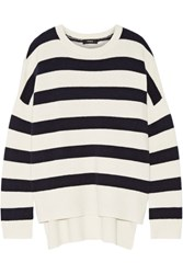 Theory Karenia Striped Cashmere Sweater Ivory