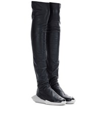 Adidas By Rick Owens Stretch Tech Runner Leather Boots Black