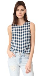 Current Elliott The Boxy Cropped Top Blue Wing Teal Check