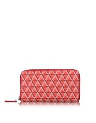Lancaster Paris Ikon Coated Canvas And Leather Zip Around Continental Wallet Red
