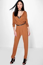 Boohoo Wrap Front Jersey Jumpsuit Tan
