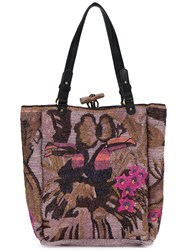 Jamin Puech Embroidered Tote Women Raffia One Size