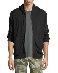 Atm Anthony Thomas Melillo French Terry Zip Front Hoodie Black