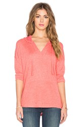 Splendid Alcove Double Face Jersey Long Sleeve Hooded Tee Coral