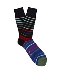 Paul Smith Echo Striped Cotton Blend Socks Navy Multi