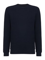 Linea Kennedy Rib Textured Crew Neck Sweat Navy