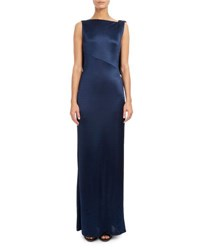 Atlein Sleeveless Open Back Satin Jersey Gown Navy