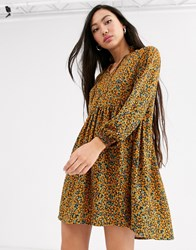 Monki Ditsy Floral Print Mini Smock Dress In Mustard Yellow