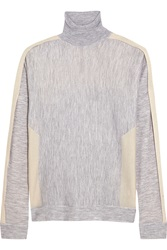 Pringle Two Tone Cashmere And Silk Blend Turtleneck Sweater