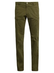 J.W.Brine Drake Slim Leg Stretch Cotton Chino Trousers Green