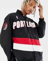 Mitchell And Ness Nba Portland Trail Blazers Authentic Warm Up Jacket In Black