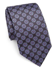 Vilebrequin Floral Medallion Silk Tie Purple Multi