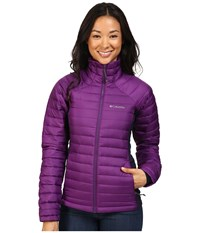 Columbia Gold 750 Turbodown Hybrid Jacket Iris Glow Ebony Blue Women's Coat Purple