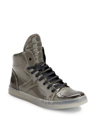 Kenneth Cole Double Feature Patent Leather Lace Up Sneakers Grey