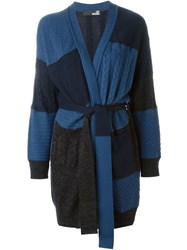 Love Moschino Cable Knit Cardi Coat Blue