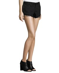 Rag And Bone Studded Cut Off Denim Shorts Black Studded Black