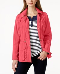 Charter Club Petite Long Sleeve Hooded Anorak Jacket Only At Macy's Tropical Pink