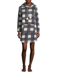 Roudelain Plaid Hooded Sleep Dress Black White