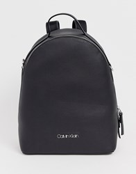 Calvin Klein Jeans Leather Look Backpack With Wide Print Detail Strap Black