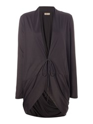 Label Lab Double Tie Twist Back Charcoal Cardigan Grey