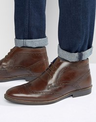 Red Tape Brogue Ankle Boots Brown