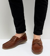 Asos Design Wide Fit Boat Shoes In Tan Leather