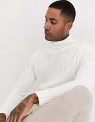 Bershka Knitted Roll Neck Jumper In White