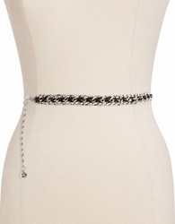 Fashion Focus Leather Laced Chain Belt Silver Black
