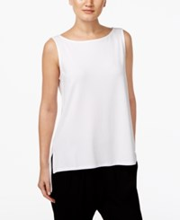Eileen Fisher High Low Boat Neck Shell White