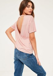 Missguided Pink Wrap Back T Shirt