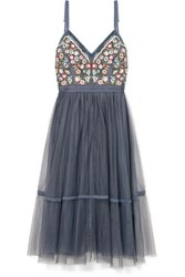 Needle And Thread Whimsical Embroidered Tulle Dress Blue