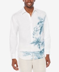 Cubavera Men's Linen Blend Print Shirt Bright White