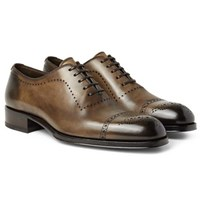 Tom Ford Edgar Burnished Leather Oxford Brogues Chocolate