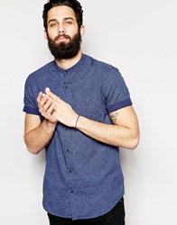 New Look Short Sleeve Shirt In Textured Fabric With Grandad Navy