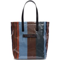 Marni Blue Striped Glossy Grip Tote