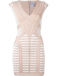Herve Leger Herve Leger Striped Fitted Mini Dress Pink And Purple