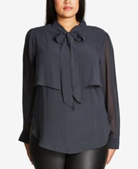 City Chic Trendy Plus Size Tie Neck Sheer Blouse Graphite