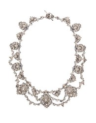Marchesa Bohemian Dream Swarovski Crystals Collar Necklace Silver
