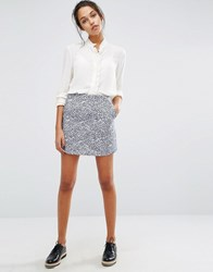 Suncoo Printed Mini Skirt Bleu Jeans Blue