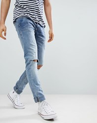 Blend Of America Cirrus Distressed Ripped Skinny Jeans Bluey Grey