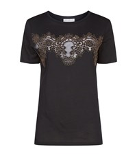 Sandro Kenji Lace Insert T Shirt Female Grey