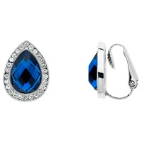 Monet Glass Crystal Teardrop Clip On Stud Earrings Silver Blue