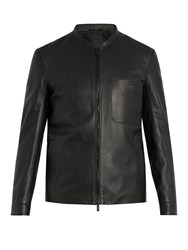 Fendi Patch Pocket Leather Jacket Black