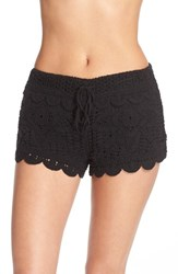 Surf Gypsy Women's Crochet Cover Up Shorts Black