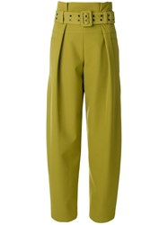 Emilio Pucci High Waisted Wide Legged Trousers Silk Polyester Spandex Elastane Cupro Green