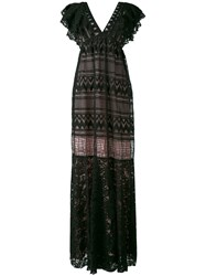 Si Jay Plunge V Neck Gown Women Cotton Polyamide 42 Black