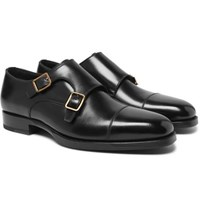 Tom Ford Wessex Cap Toe Leather Monk Strap Shoes Black